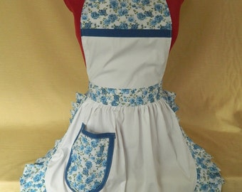 Retro Vintage 50s Style Full Apron / Pinny - White with Blue Roses