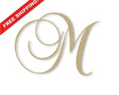 "Wooden Monogram Letter ""M"" - Large or Small, Unfinished, Cursive Wooden Letter - Perfect for Crafts, DIY, Weddings - Sizes 1"" to 42"""