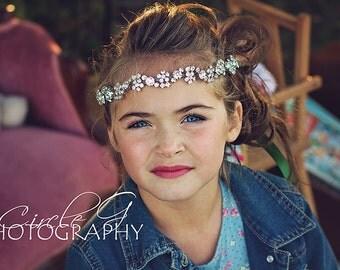 Flower Girl Rhinestone Headband, Rhinestone Flower Girl Headband