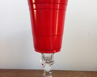 Redneck Stemware - Single Red Solo Cup Wine Glass!