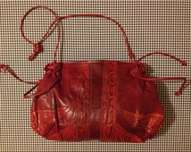 1980's, burgundy, leather purse, with snakeskin trim, by Carlos Falchi