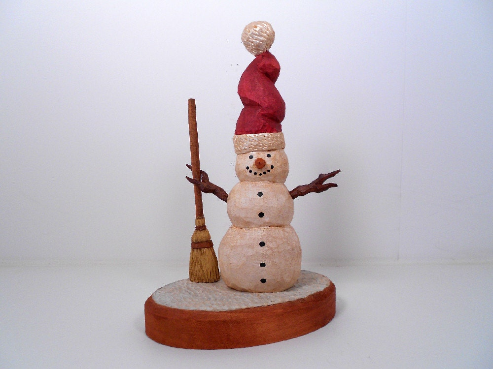 Hand carved wooden snowman christmas decoration for Christmas snowman decorations