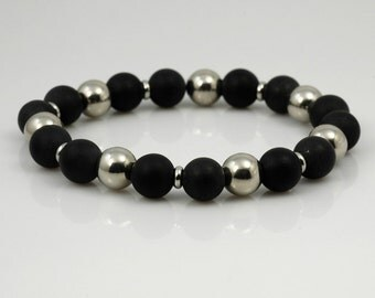 Stainless steel and frosted black onyx stretch bracelet