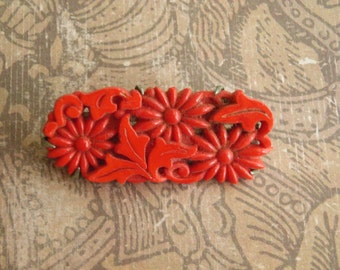 Vintage Edwardian Czech Red Glass Pin Brooch