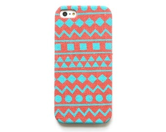 FABRIC - Coral iPhone 4s case, Mint iphone 5s case, Geometric iPhone 5c case, Tribal iPhone 6 case, Samsung galaxy case