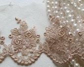 """4"""" Rose Gold Vintage Lace Trim, Embroidered Gauze Lace, Lovely Floral Embroidery Tulle Fabric for wedding bridal dress, lingerie, clothing"""