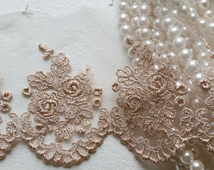 Rose gold vintage lace trim embroidered gauze