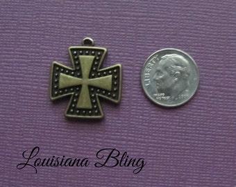 15 Pieces Cross Pendant Charm 35x22mm Antique Bronze Finish, square cross charms, bronze cross charms, 16-8-B