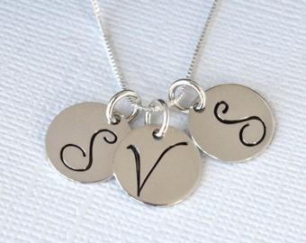 Personalized Three Initial Necklace   Hand Stamped Mothers Initial Necklace