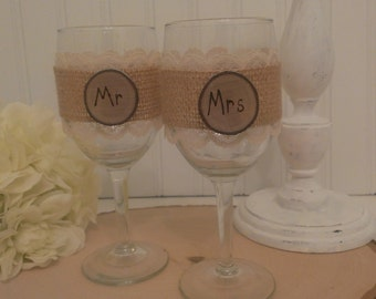 rustic wedding glasses mr and mrs glasses bride and groom burlap and lace wedding vintage lace