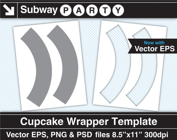 Cupcake Wrapper Template. Vector EPS Photoshop Layered Psd