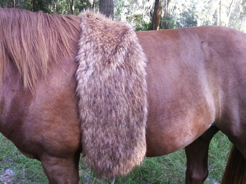 Faux Brown Wolf Fur Pelt Pretend American Indian Bed Roll