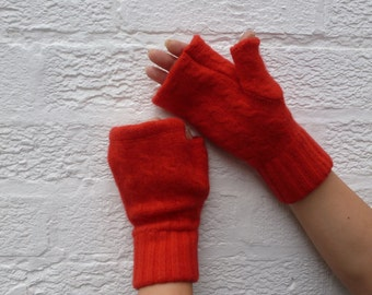 Gloves red mittens cable knit chunky wool fingerless gloves gift red gloves short handmade ladies eco mittens fingerless mens winter gloves.