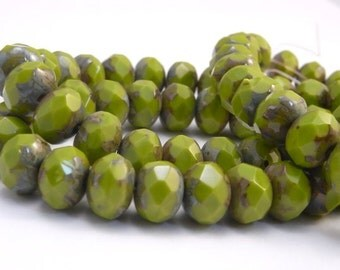 SPRING SHOOTS ~ Faceted Green Czech Glass Rondelle Beads (10) 8x6mm