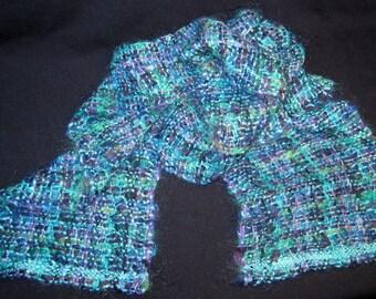 Handwoven hand spun warm scarf