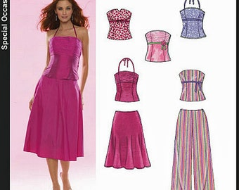 Strapless Top, Halter Top, Flared Skirt & Pants size 6-16  New Look Sewing Pattern # 6481