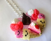 Kawaii Raccoon Sweets.  Decora/Kawaii/Lolita Pendant. Sweet fake food pendant.