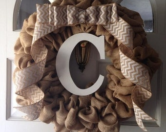 Chevron Ribbon Burlap Wreath Wooden Initial Personalized