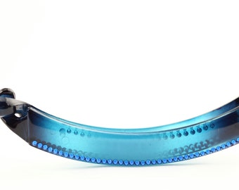 Banana hair clip, Turquoise banana clip with Swarovski Elements crystals, banana clip for ponytail,