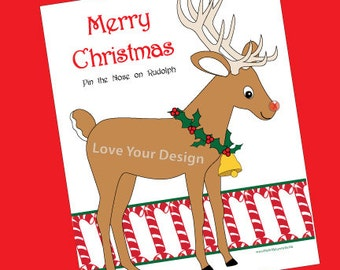 Rudolph Reindeer Pin the Nose on the Deer Game printable digital jpeg files INSTANT DOWNLOAD