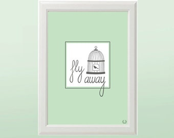 Fly Away Birdcage in Green Illustration Print