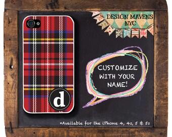Red Tartan iPhone Case, Plaid Monogram iPhone Case, Personalized iPhone, iPhone 4, 4s, iPhone 5, 5s, 5c iPhone 6, 6c, 6 Plus, Phone Cover