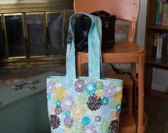 Gold Teal Brown & Green Dot Reversable Tote Bag