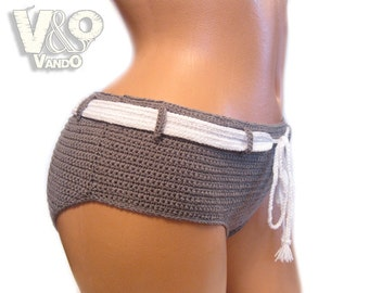 Handmade Crochet Shorts, Crochet Bikini Bottom, Womens Shorts, Crochet boyshorts swimsuit