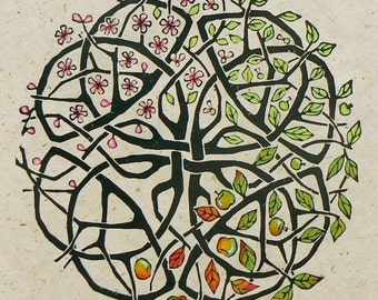 Apple Tree Celtic Knot Lino cut print