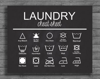 Laundry Cheat Sheet Chalkboard Sign
