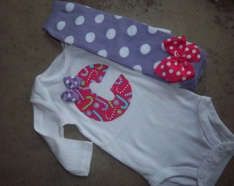 Baby Girl Christmas Outfit, Pink Candy Cane, personalized Bodysuit, Leg warmers