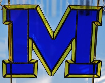 Stained glass NCAA College sports Michigan Wolverines sun catcher/ wall hanging