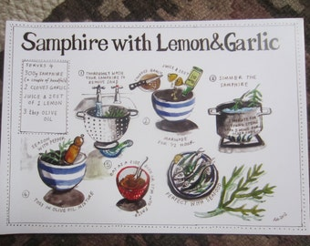 Marsh Samphire illustrated recipe / greetings card with envelope