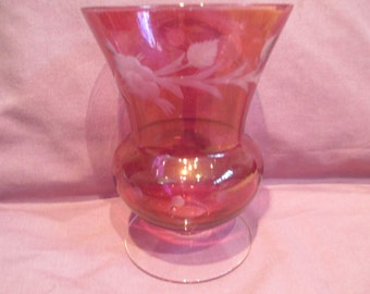 Ruby Flash vase with etched flowers and leaves