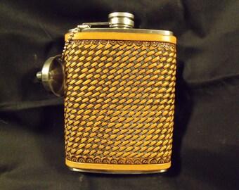 Western basket weave flask