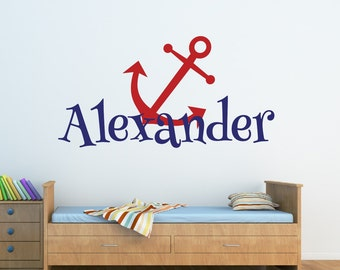 Baby Boy Nursery - Name Wall Decal - Anchor Name Wall Decal Nautical Nursery Decor