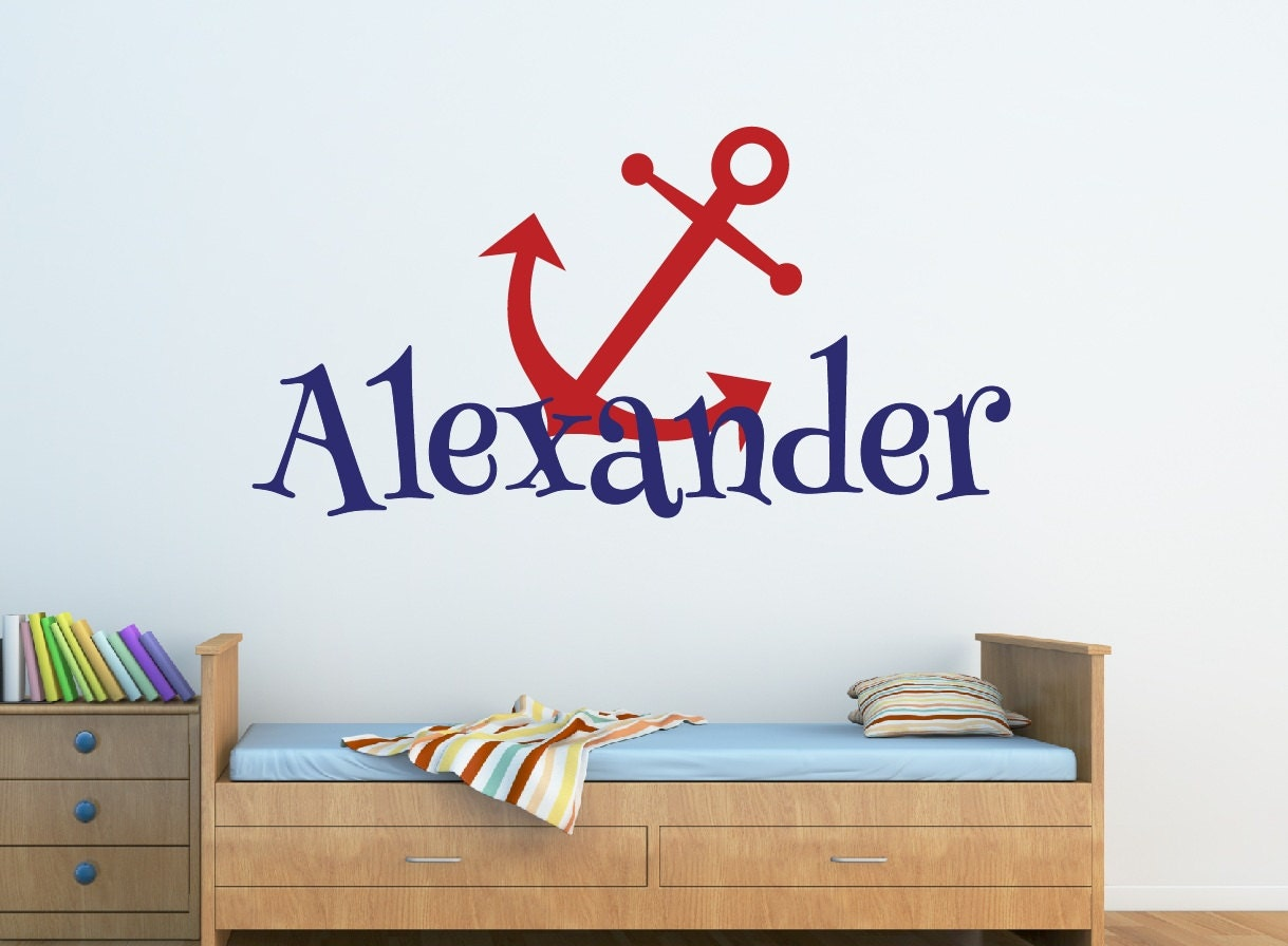 baby boy nursery name wall decal anchor name wall decal. Black Bedroom Furniture Sets. Home Design Ideas