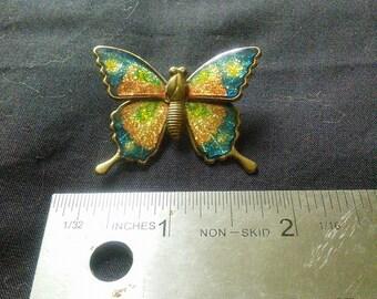 Vintage Butterfly Brooch, colorful glittery enamel