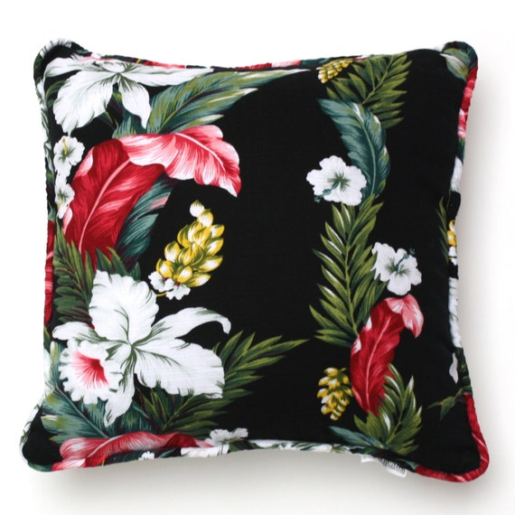 Aloha throw pillow vintage tropical floral fabric accent - Fabric for throw pillows ...