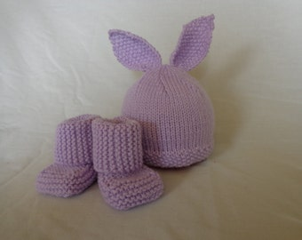 Baby Bunny Hat and matching booties-Lilac