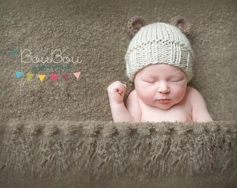 SALE!!! Newborn baby knit hat,Baby knit,Newborn knit ears,Photo prop,Beige knit hat,Brown ears knit hat,Bear knit hat,Mohair yarn