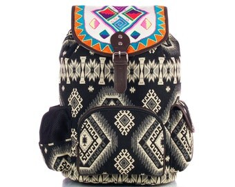 Jacquard Backpack, Embroidered Flap with Laptop Protection