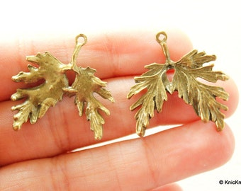 Two Leaf Bronze Charms