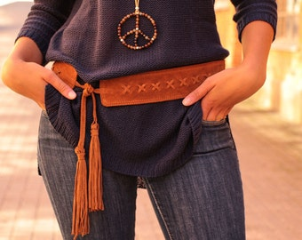 Boho belt, tie belt, tassel belt, suede belt, hip belt, hippie belt, brown suede belt, gypsy belt, leather belt women