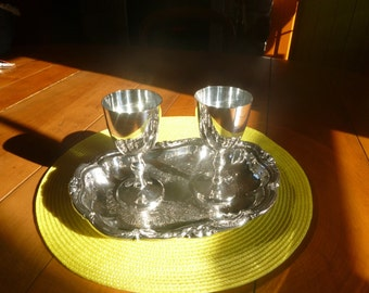 Silver Plate Wine Goblets and Tray