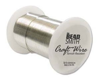 Tarnish Resistant 26 ga. Silver Plated Wire, Round,  34 yds, Beadsmith Non Tarnish