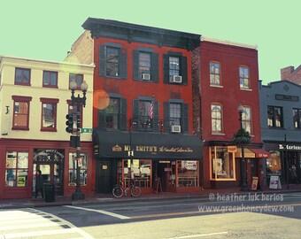 Georgetown - Wall Decor - Fine Art Photography Print - Washington, Red Building, European Architecture