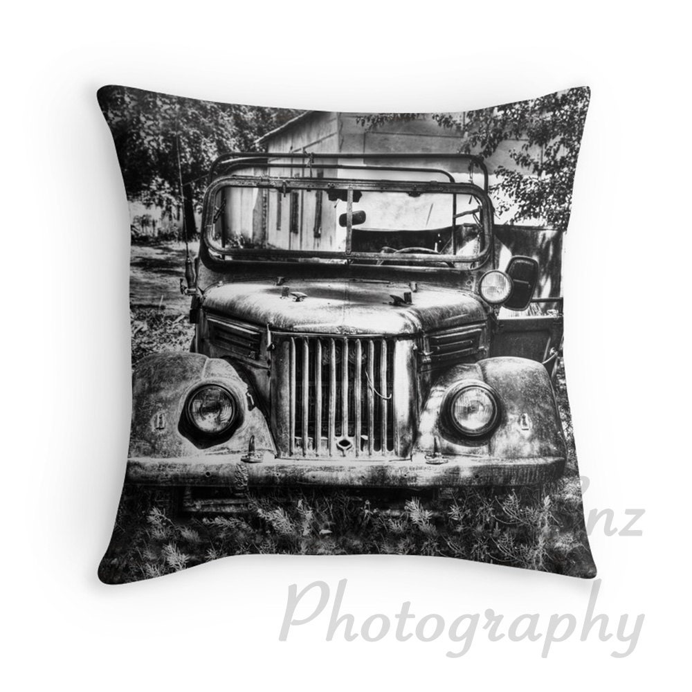 Throw Pillows Kmart : Tajik Jeep in Black and White Photo Throw Pillow Cover Home