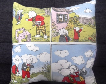 Vintage Rupert the Bear Comic Strip Fabric Cushions - Handmade by Alien Couture