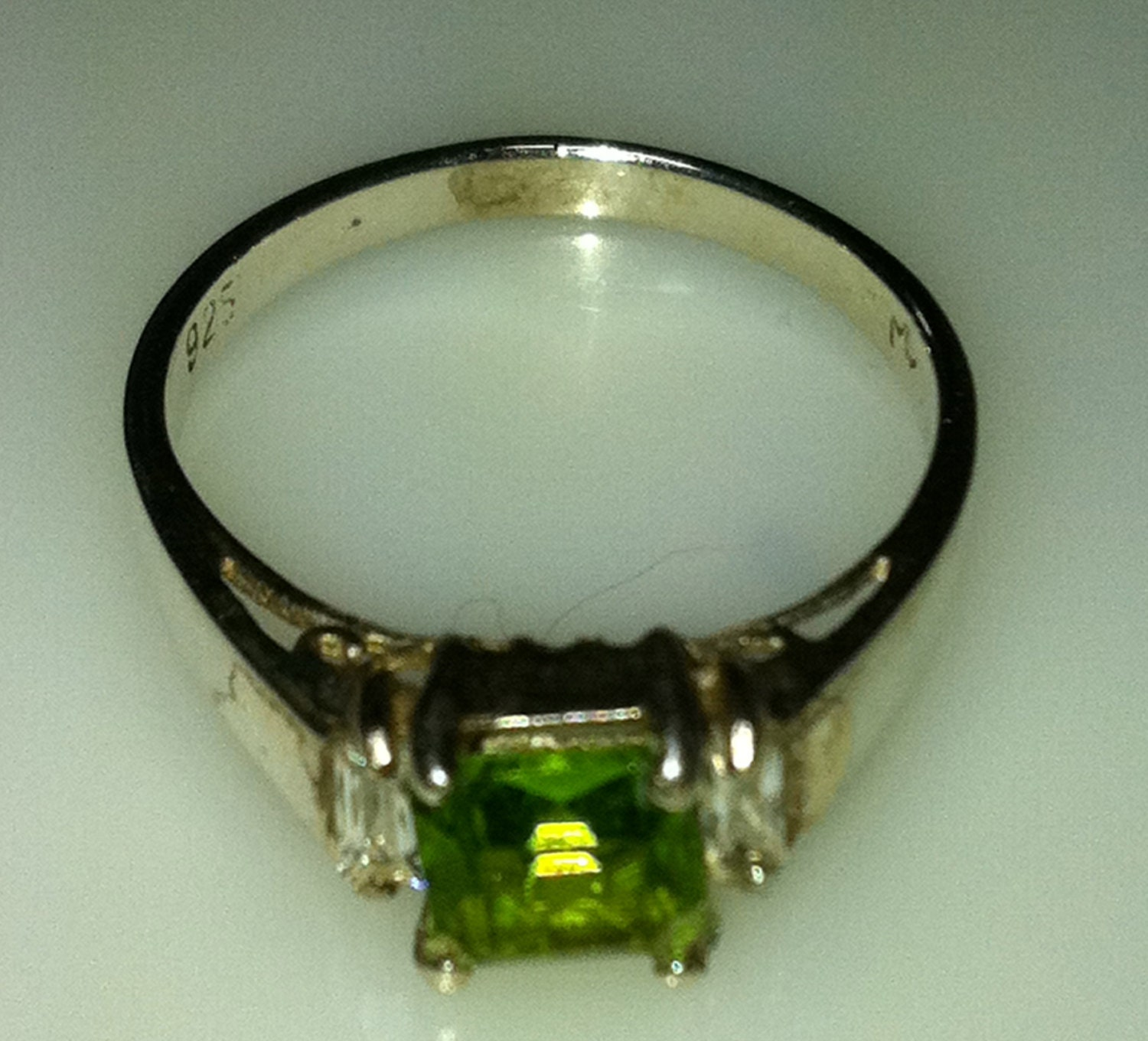 1950s ring sterling silver with green princess cut